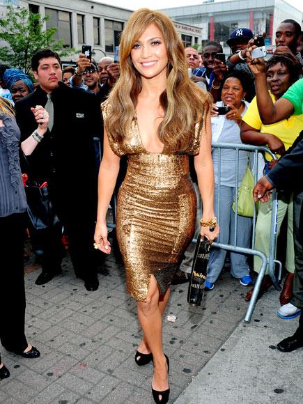 Jennifer Lopez in Gold Dress at Apollo