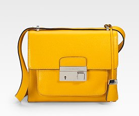 Michael Kors Gia Flap Leather Shoulder Bag in Daffodil
