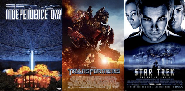 Independence Day (1996), Transformers (2007) and Star Trek (2009)