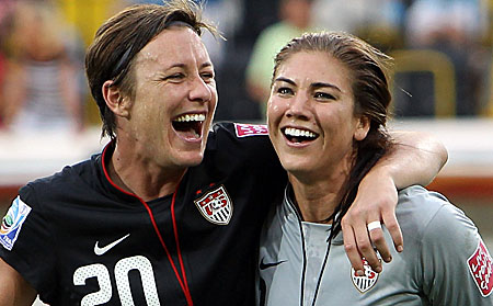Hope Solo and Abby Wambach after Brazil World Cup Game