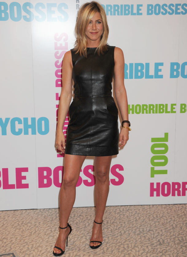 Jennifer Aniston in leather mini dress at Horrible Bosses premiere