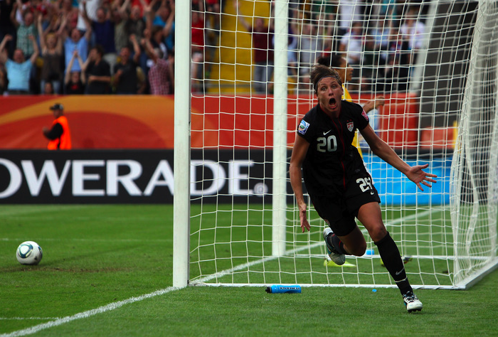 Abby Wambach celebrating goal against Brazil in world cup