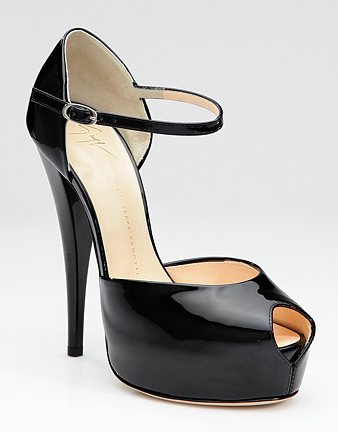 Giuseppe Zanotti Patent Leather Peep-Toe Mary Jane Pumps