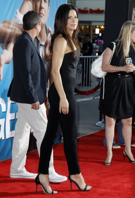Sandra Bullock in Lanvin jumpsuit at Change Up Premiere