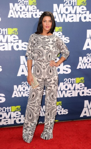 Jessica Szohr in a paisley jumpsuit at the MTV Movie Awards