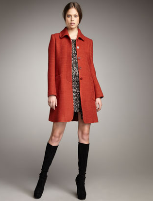 Theory Patchwork Tweed Coat ($685) Theory Flame-Print Silk Dress ($355)