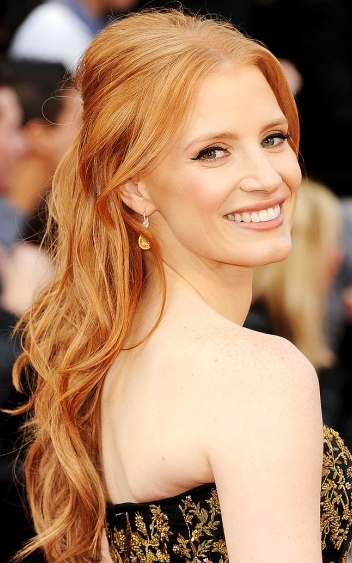 Jessica Chastain Oscars Red Carpet hair and makeup