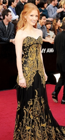 Jessica Chastain Oscars 2012 Red Carpet Alexander McQueen