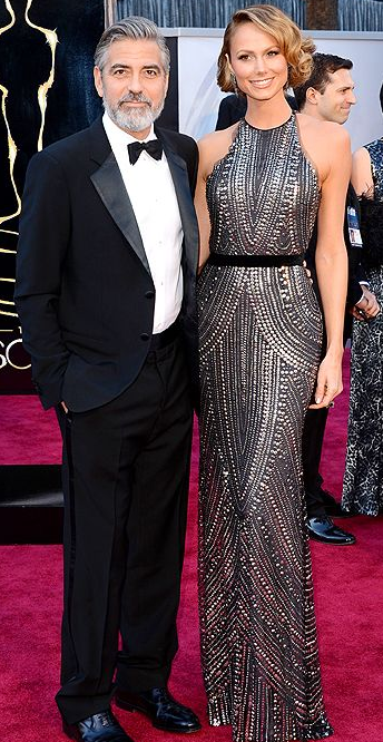 George Clooney and Stacy Keibler on Oscars 2013 Red Carpet