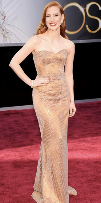 Jessica Chastain on Oscars 2013 Red Carpet in Armani Prive