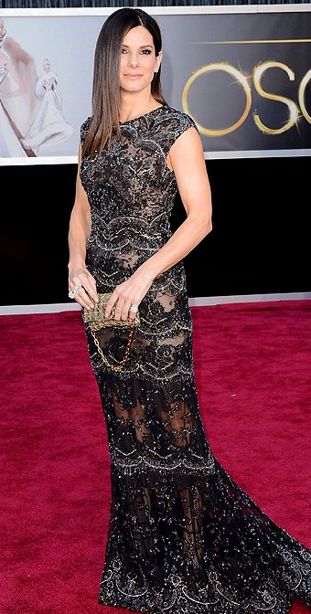 Sandra Bullock on Oscars 2013 Red Carpet in Elie Saab