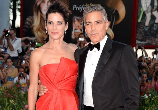 Sandra Bullock and George Clooney at the Gravity Premiere at the 2013 Venice Film Festival