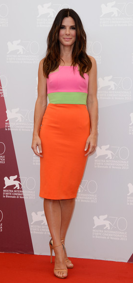Sandra Bullock in Alex Perry Dress at Venice Film Festival Photo Call
