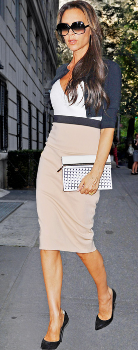 Victoria Beckham in White & Beige Dress at New York Fashion Week