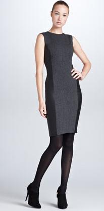 Ralph Lauren Black Label Winton Stretch Leather-Side Dress, Gray/Black