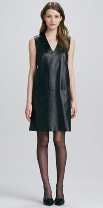 Vince Leather V-Neck Dress