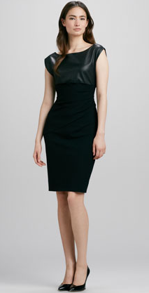 Diane von Furstenberg Jori Leather-Top Ponte Dress