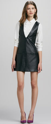 Whit Deep-V Leather Jumper & Scallop-Front Silk Blouse