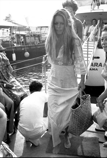Brigitte Bardot white lace dress