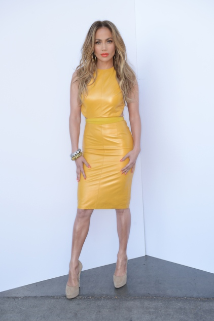 Jennifer Lopez in yellow leather Phillip Armstrong dress
