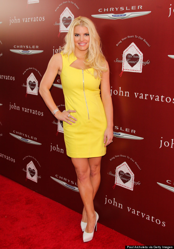 Jessica Simpson attends the 11th annual Stuart House Benefit John Varvatos in yellow dress