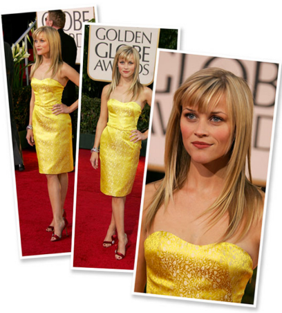 Reese Witherspoon in a yellow Nina Ricci dress at the 2007 Golden Globes