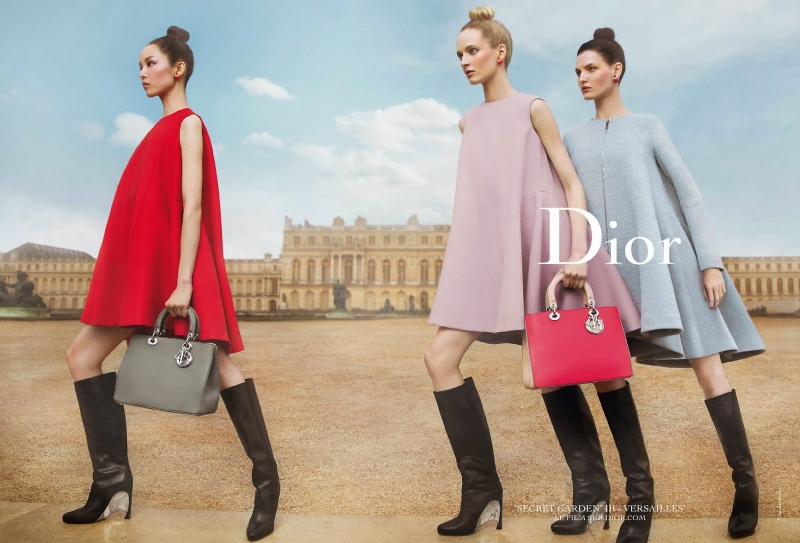 Dior Secret Garden advertisement featuring gorgeous red dress