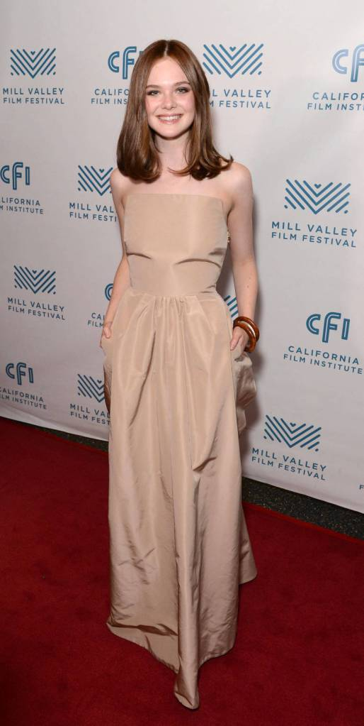 Elle Fanning in nude Rochas dress at the Mill Valley Film Festival in California